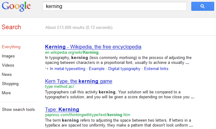 Kerning In Google Search Results